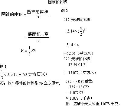 数学 小学数学 > 小学数学教案  点击进入《2,圆柱与圆锥》课文  (3)